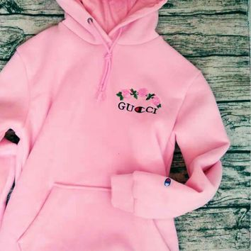 One-nice™ GUCCI : Champion flower rose print sweater grey hoodie pullover Pink