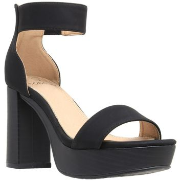 Ankle Strap High Heel Platform Sandal Black