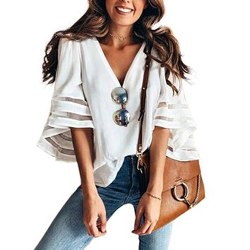 Women's Flare Sleeve Blouses Plus Size Loose Solid White Shirt Womens Tops And Blouses