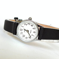 Womens Quartz Watch. Vintage Silver Tone Womens Watch LUCH Ray. Rare Ladies Wrist Watch. Soviet Watch For Women. Leather Strap. Gift for Her