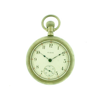 Elgin Open Face 18s Silverode Pocket Watch c. 1909