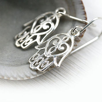 Silver Hamsa earrings, Hamsa hand, Kabbalah earring, Hand of fatima, Hamsa Jewelry, Sterling silver, Dangle hamsa earrings