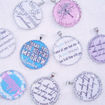ADD ON PENDANT, Add an accent pendant to your order, extra pendant, additional pendant, quote pendant, personalized pendant, name pendant