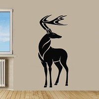 Wall Decor Vinyl Decal Sticker Happy New Year Christmas Holiday Tribal Deer Kj360