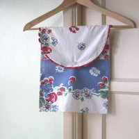 Cotton Clothespin/Delicates Bags: Choose Retro Blue/White/Red Cherry Print or Green/Pink Polka Dot/Cupcake Print Clothespin Bag