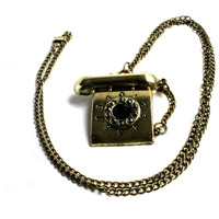 """""""I'll Call You Back"""" Dark Tone Gold Necklace With Telephone Pendant"""