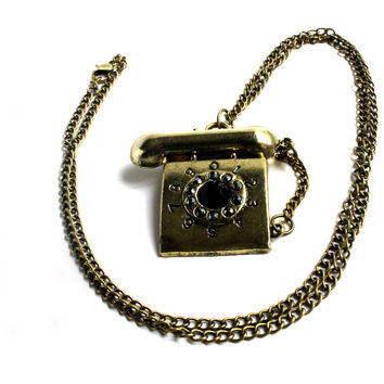 """I'll Call You Back"" Dark Tone Gold Necklace With Telephone Pendant"
