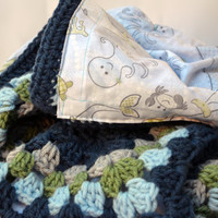 Mama and baby whale reversible blanket, crochet baby blanket, baby blanket, granny square baby blanket, afghan, travel blanket