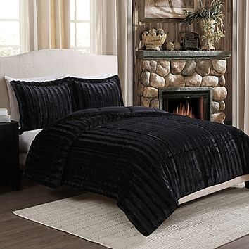 Sable Fancy Fur Reversible Comforter Set in Black