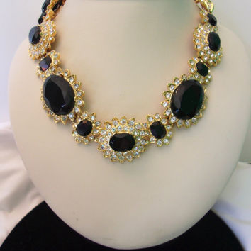 Kenneth J Lane KJL Black & White Glass Rhinestone Gold Plate Vintage Flower Collar Necklace