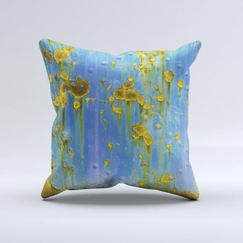 Blue Metal with Gold Rust  Ink-Fuzed Decorative Throw Pillow