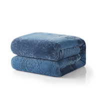 Tache Solid Embossed Rainy Day Grey Sherpa Throw Blanket