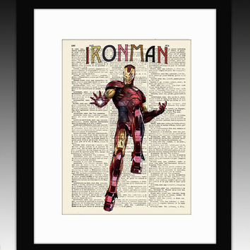 "Ironman - Original art  illustration super heroes art print 8""x11""- Anthentic dictionary page - Vintage marvel art print."