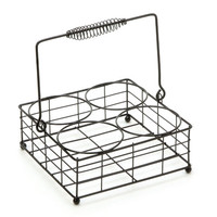 ConsumerCrafts Product Vintage Style Wire Milk Bottle Carrier: Black