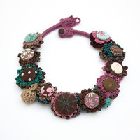 Statement fiber necklace, crochet, embroidered with fabric buttons and felted and plastic beads, OOAK