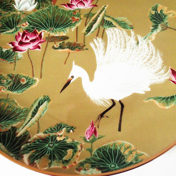 Franklin Mint Flowers and Birds of the Orient Hand Painted Decorator Plate, Egret and Water Lily 1979