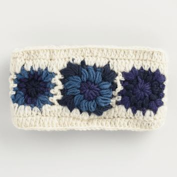 Blue and Ivory Crochet Wool Head Warmer