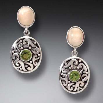 """Monsoon"" Ancient Walrus Tusk Ivory and Peridot Silver Earrings"