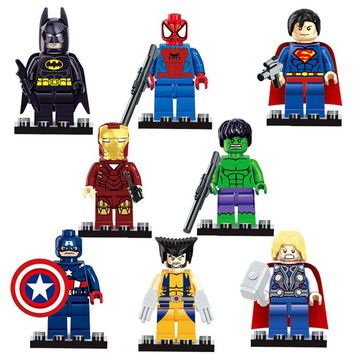 8pcs Super Heroes Avengers Toys Wolverine Batman Spider Man Hawkeye Thor X Man Hulk Small Action Figures Building Blocks Toy Set