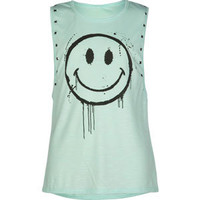 FULL TILT Studded Smiley Girls Muscle Tee