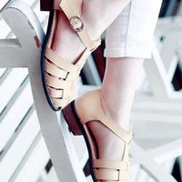 Ladies CutOut Style Low Heel Ankle Strap Shoes In BEIGE from NaomiShu