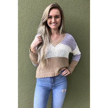 Fixed On You Sweater- Lavender Multi