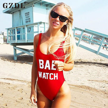 GZDL Sexy Women Bodysuit Letters Printed Backless Blouse Summer Beachwear Monokini Bikini Suit Swimsuit Leotard Tops CL2514
