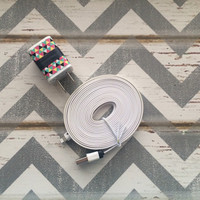 New Super Cute Multi Colored Aztec Designed Dual USB Wall Connector  + 10ft Flat White Iphone 5/5c/5s Cable Cord
