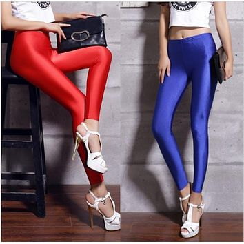 shiny spandex leggings women's black red lycra polyester women leggings colors neon spandex leggings high waist stretch skinny