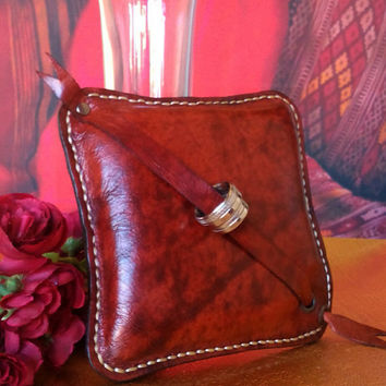 Handmade Genuine leather ring pillow bearer pillow Hand stitched