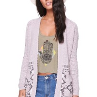 LA Hearts Long Open Intarsia Cardigan - Womens Sweater