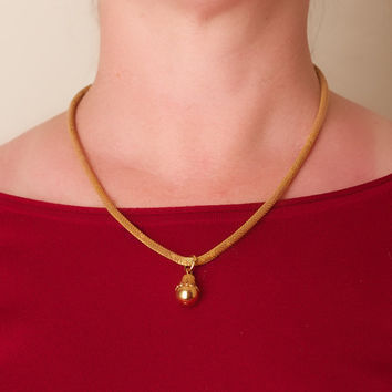 Vintage Necklace and Pendant Gold Tone Mesh