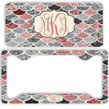 Pink Silver Mermaid License Plate Car Tag Monogram Frame Personalized Set Custom Initials Car Coasters NOT ACTUAL GLITTER Mermaid Scales