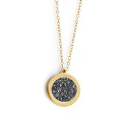Forever Pendant (black druzy inlay)