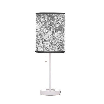Table Lamp // Drum Lamp Shade // Original Art Print // Home Decor // Black and White // Made to Order - #06