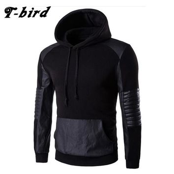 T-Bird 2017 New Fashion Hoodies Brand Men Leather Stitching Sweatshirt Male Hoody Hip Hop Autumn Winter Hoodie Mens Pullover 3XL