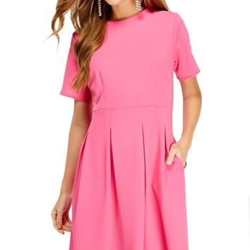 Pleated Skirt A-Line Dress