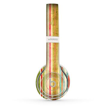 The Brightly Colored Vertical Grungy Stripes Skin Set for the Beats by Dre Solo 2 Wireless Headphones