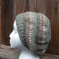 Crochet Slouch Tam Hat in sage green with pink accents, ready to ship.