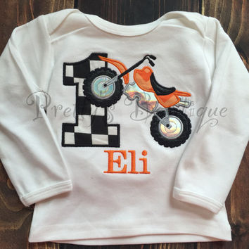 Dirt Bike Birthday Outfit for Boy's First Birthday with Matching Hat & Bib-- Motor cross birthday shirt any age