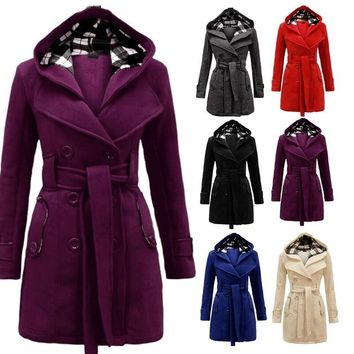 Fashion Womens Winter Hooded Warm Coat Long Section Jacket Outwear Coat