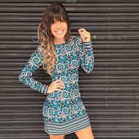 Print Long Sleeve Bodycon Dress