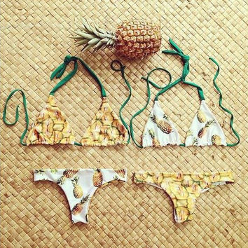 Fashion Halter Neck pineapple print Bikini Swimsuit Swimwear