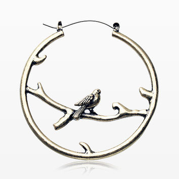 A Pair of Vintage Perched Bird Plug Hoop Earring