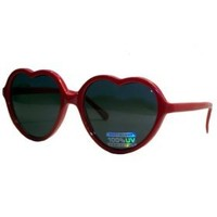 Fun and Funky Lolita Heart Shaped Sunglasses - (Solid Red)