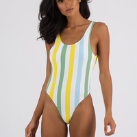 Pool Cue Striped One-Piece Swimsuit