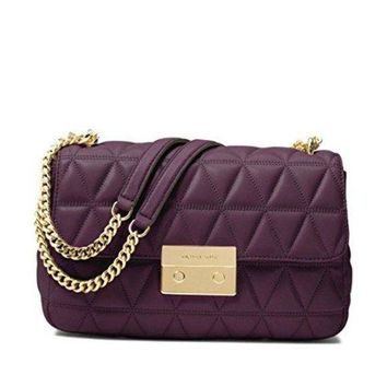 MICHAEL Michael Kors Sloan Large Quilted-Leather Shoulder Bag in Damson-1