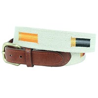 Rainbow Shotgun Shells Needlepoint Belt in Light Khaki by Smathers & Branson
