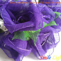 20 x Purple Rose string light with 3 m. wire and adapter for room and party decoration