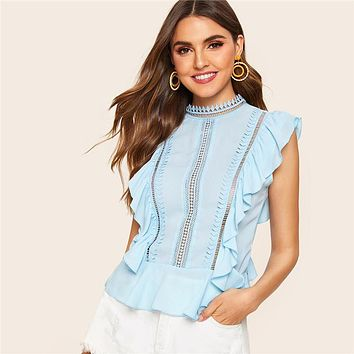 Ruffle Lace Mock-Neck Peplum Top Blouse Cute Blue Solid Stand Collar Cap Sleeve Women Tops And Blouses